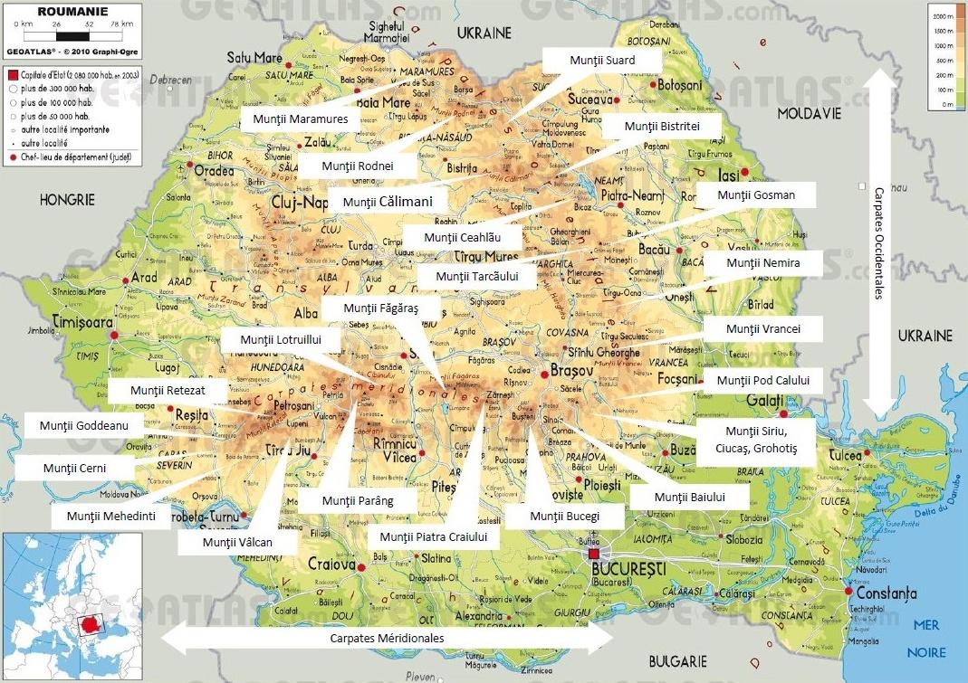 Cartes des carpates en Roumanie