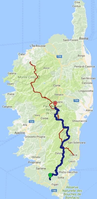 Traversée de la Corse, comparaison avec le GR20