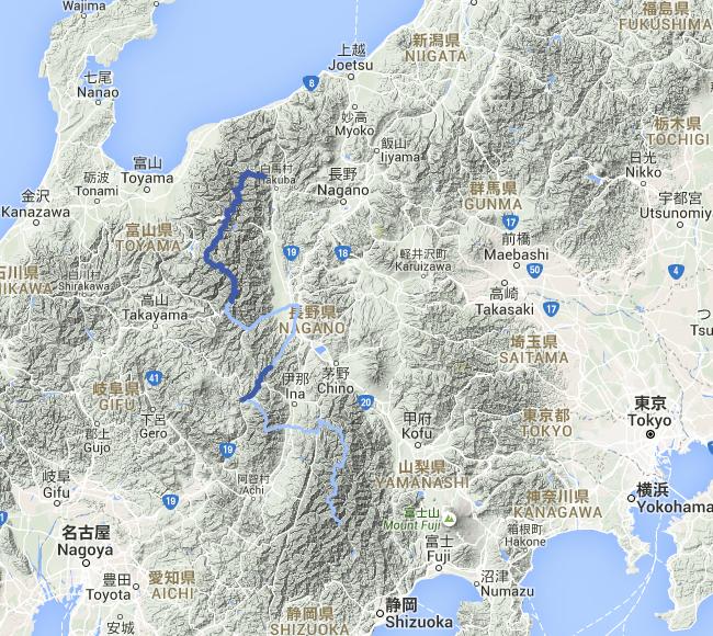 itinéraire dans les Alpes japonaises