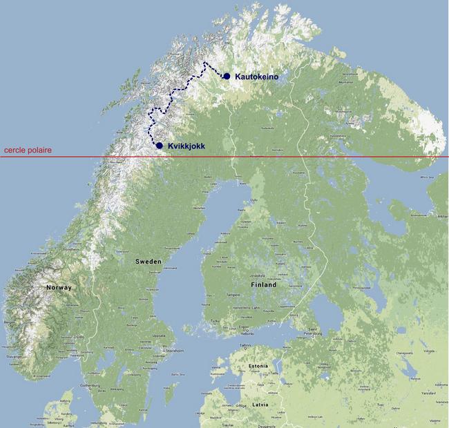 La Nordkalottleden entre Kvikkjokk et Kautokeino en Laponie