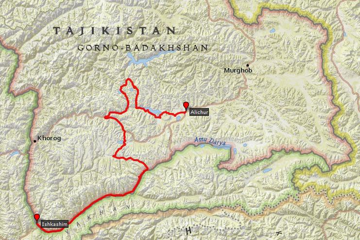 itinéraire de ma randonnée dans le Pamir